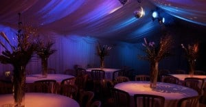 soft lighting in marquee hire Borders