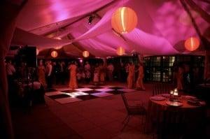 amazing lighting on the dance floor in marquee hire Borders