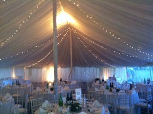 lighting in a weeding marquee for hire