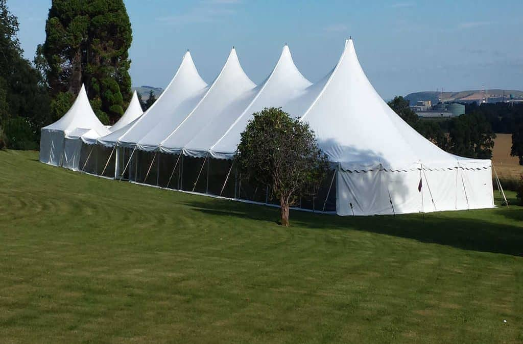 Wedding Marquee hire on the lawn at Wedding Marquee Hire at Kincraig Castle Hotel near inverness