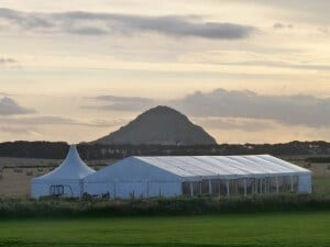 9 meter frame tent at Tantallon Castle for a wedding marquee hire