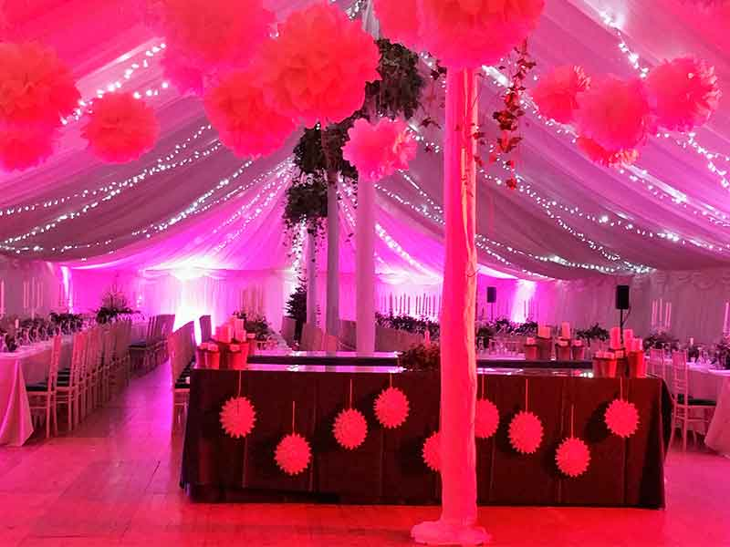 marquee hire with white and pink lighting and decorations