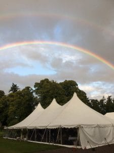 Hire marquee in Perth with rainbow over white marquee tent