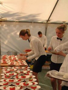 Catering marquee attached to a wedding marquee in Edinburgh