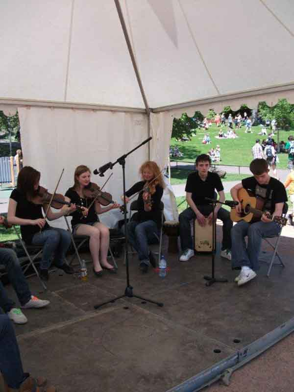 Band playing in marquee hire Edinburgh during the Edinburgh Festival