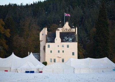 castle with marquee hire set in snow