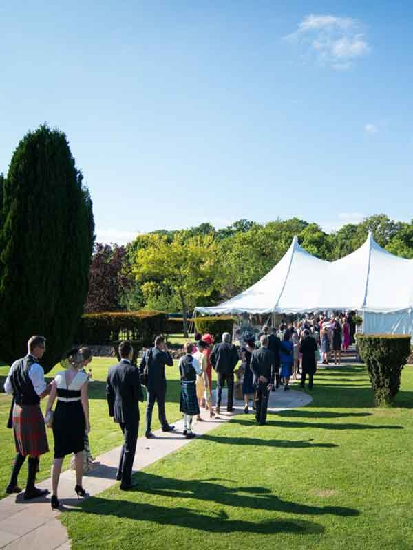 Guests arrive at reception for Edinburgh marquee hire for wedding