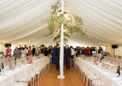 decorated center- poles in a wedding marquee hire Scotland