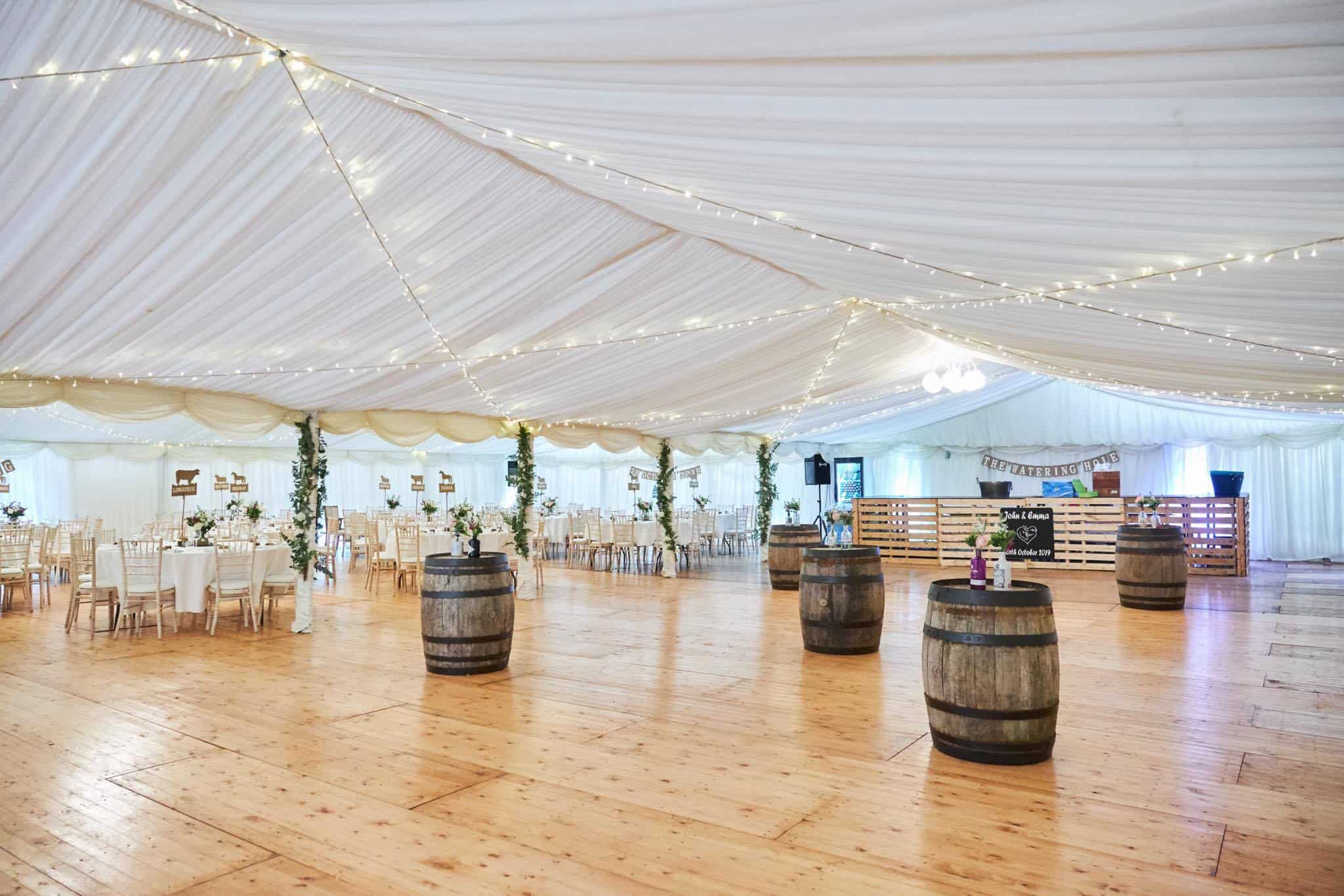 wedding marquee hire in a farmyard barn